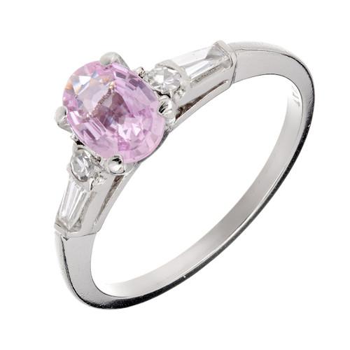 Estate Purple Pink Sapphire Engagement Ring Natural No Heat Platinum  Diamond
