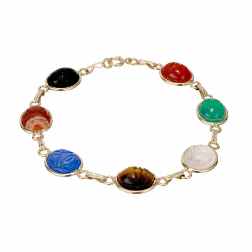 1960 Multi Color Scarab Bracelet 7 Stone 14k Yellow Gold