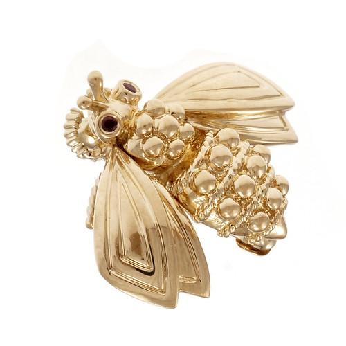 Tiffany & Co Bee Brooch 18k Gold Ruby