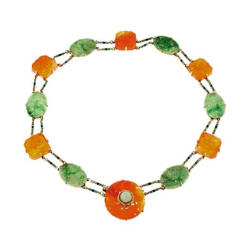 GIA Certified Art Deco Jadeite Jade Pearl Carnelian Gold Necklace
