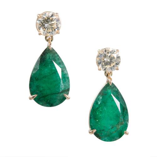 Important Emerald Diamond Dangle Earrings 18k Yellow Gold GIA Certified