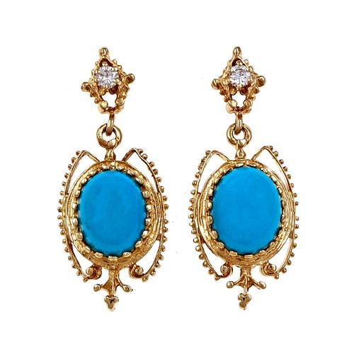 Persian Natural Turquoise Dangle Earrings 14k Yellow Gold Diamond