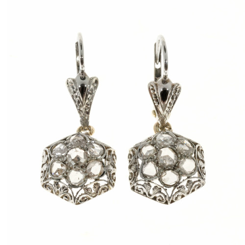 Vintage Rose Cut Diamond Dangle Earrings 18k White Gold