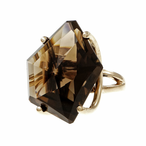 1960 Large Freeform Smoky Quartz 14k Yellow Gold Ring