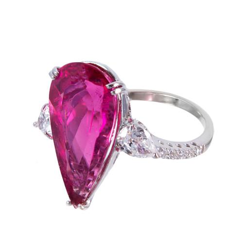 6.55 Carat Pear Rubelite Pink Tourmaline Diamond Gold Cocktail Ring