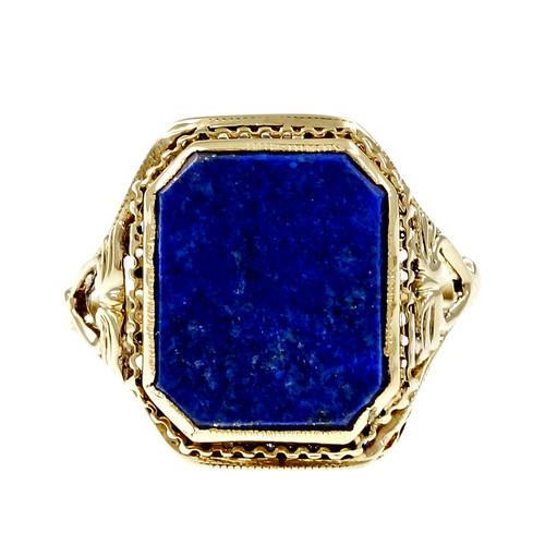 Estate 1950 Lapis Filigree Ring 14k Yellow Gold Natural