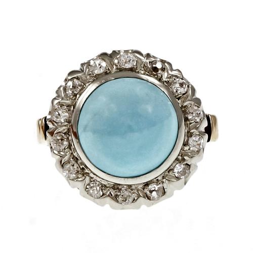 Vintage Persian Turquoise Ring 1950 GIA Certified 14k Gold Diamond