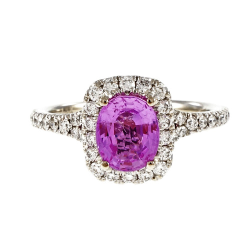 Peter Suchy 1.58 Carat Hot Pink Sapphire Diamond Halo Gold Engagement Ring
