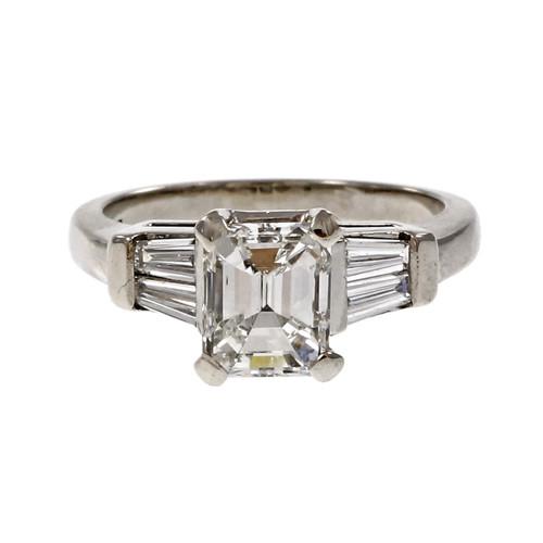 Estate Emerald Cut Diamond Engagement Ring Platinum Baguette Sides