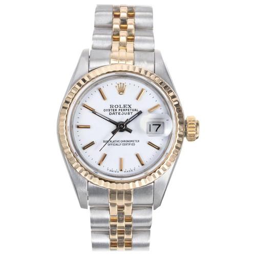 Rolex Datejust Yellow Gold Steel Custom Dial Wristwatch Ref 69173