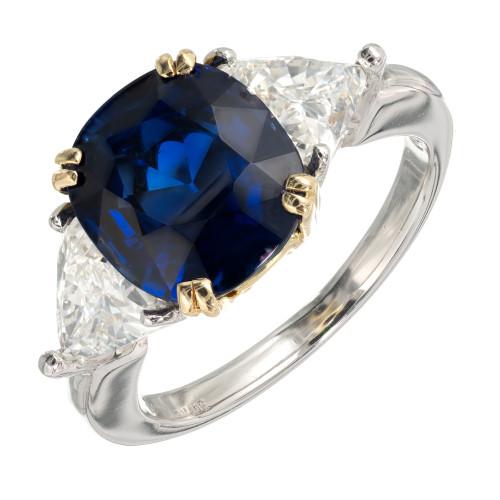 Estate 1990 Cushion Royal Blue Certified Sapphire Engagement Ring Diamond
