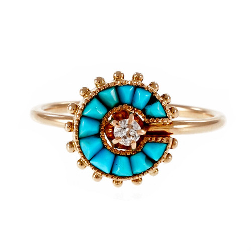 Victorian Persian Turquoise Pink Gold Ring 14k Old Mine Diamond