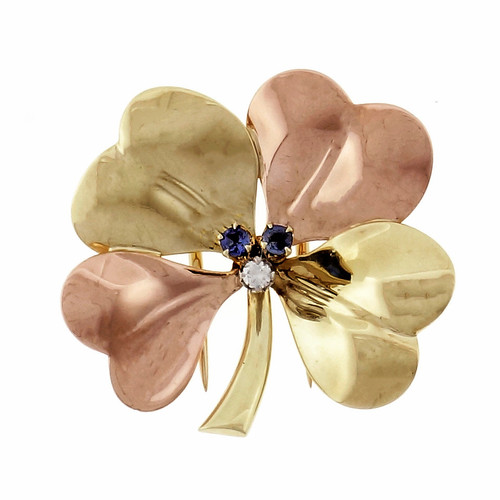 Tiffany & Co 1940 Retro Rose Green Gold Diamond Sapphire Brooch