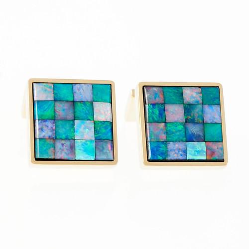 Vintage Opal Mosaic Square Cufflinks 18k Yellow Gold Italian