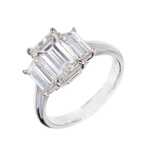 Peter Suchy Emerald Step Cut Diamond Engagement Ring Trapezoid Sides Platinum