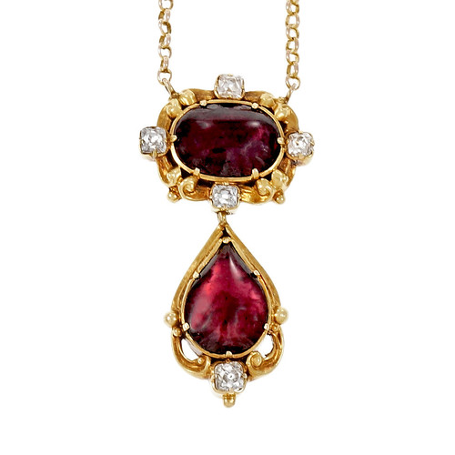 Victorian 1840 Garnet Diamond Pendant Necklace 14k Yellow Gold