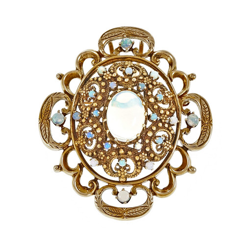 Victorian Revival Opal Pin Pendant 14k Yellow Gold