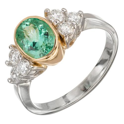 Natural Columbian Emerald GIA Ring Platinum 18k Gold Diamond