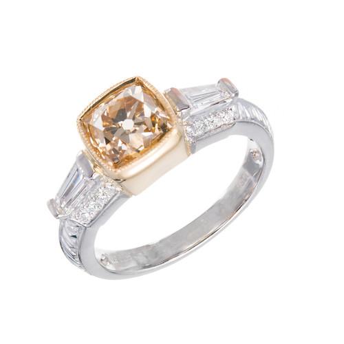Natural Brown Yellow Antique Cushion Diamond Ring Platinum 18k Gold