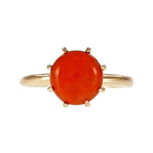 Natural Coral 1950 14k Yellow Gold Ring