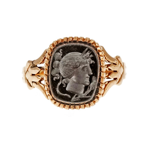 Victorian 1880 Pink Gold Carved Onyx Ring