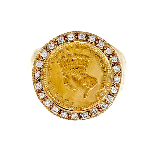 1874 US One Dollar Gold Coin Ring 14k Yellow Gold Diamond
