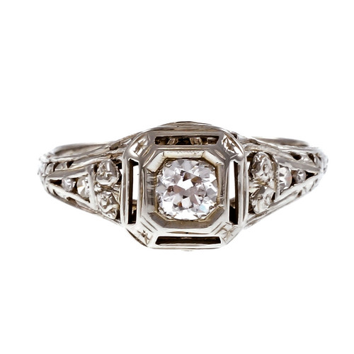 Vintage 1940 Filigree Diamond Engagement Ring 18k White Gold