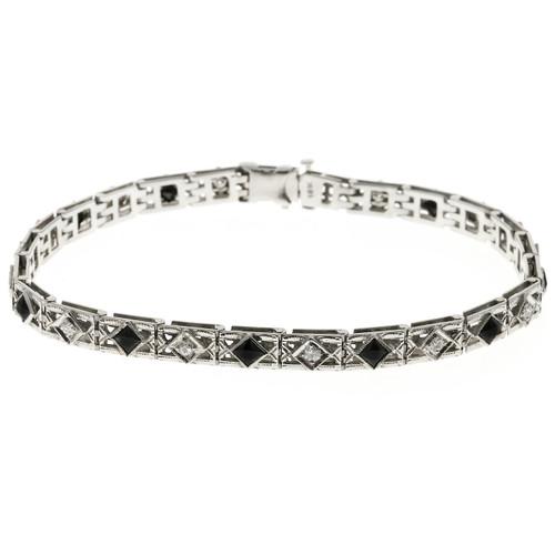 Vintage 1930 Calibré Cut Bracelet Black Onyx European Diamonds 18k White Gold