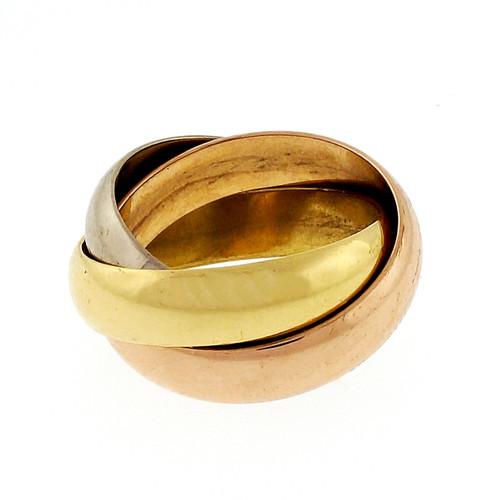 Estate 18k Tri Color Cartier Rolling Band Ring 3 5mm Bands