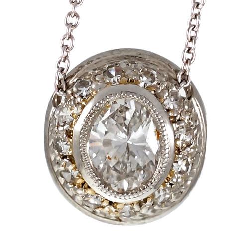 Peter Suchy Pavé Oval Diamond Pendant Platinum