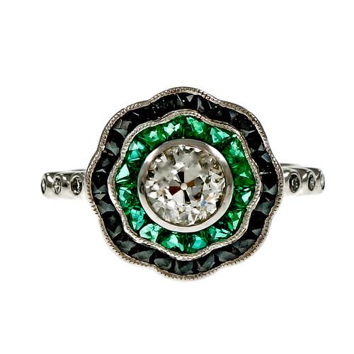 Vintage 1920 Old European Cut Diamond Ring Calibré Cut Emerald Black Onyx