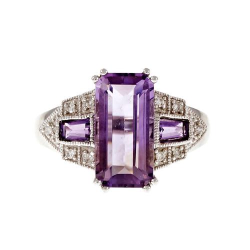 Estate Emerald Cut Amethyst Ring 14k White Gold Diamond