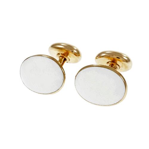 Vintage Larter & Sons Cufflinks Textured White Tops 14k Rose Gold