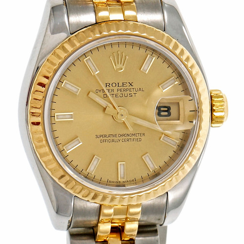 Rolex Ladies Datejust Wrist Watch 179173 18k Yellow Gold Stainless Steel