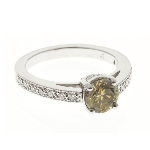 Peter Suchy Natural Brown Green Yellow Diamond Engagement Ring Platinum