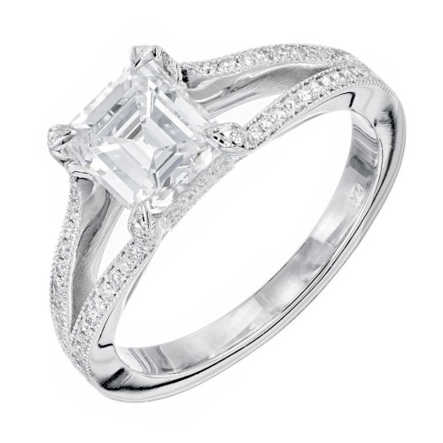 Peter Suchy Peter Suchy Asscher Cut Diamond Split Shank Platinum Engagement Ring