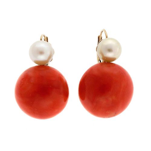 Vintage Estate Mid Century 1950 Orange Red Coral Pearl 14k Earrings