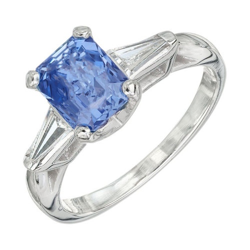 1.98 Carat Sapphire Diamond Platinum Three-Stone Engagement Ring