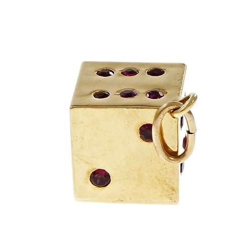 Estate Dice 3 Dimensional Pendant 18k Yellow Gold Ruby
