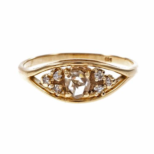 Estate Rose Cut Diamond Engagement Ring 14k Yellow Gold