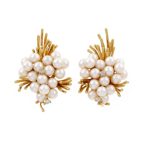 Vintage Spray Design Cultured Pearl Diamond Earrings 18k Yellow Gold