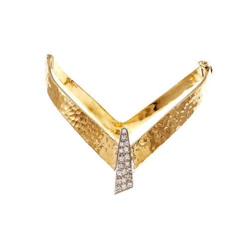 "Modernist Vintage 1950 Bangle Bracelet 14k Yellow Gold Diamond ""V"" Design"