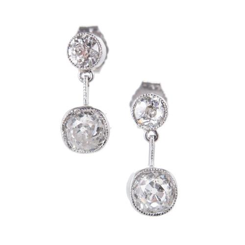 EGL Certified 1.54 Carat Old Mine Diamonds Platinum Dangle Earrings