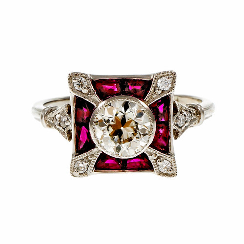Estate European Cut Diamond Ring Calibré Ruby Platinum 1930