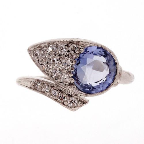 Antique 1930 Natural Light Blue 1.60ct Platinum Diamond Petri Ring