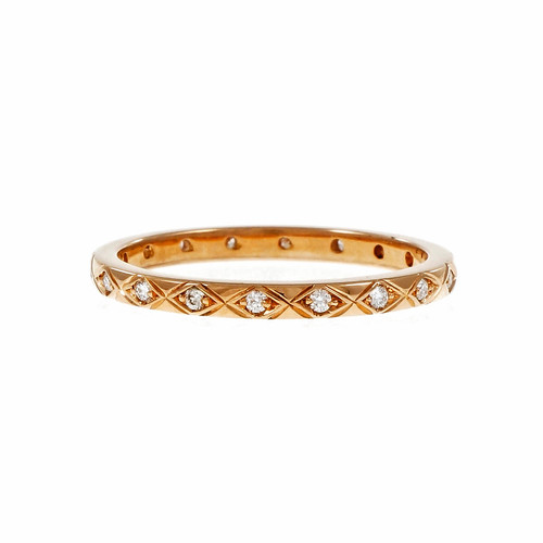 Peter Suchy Antique Inspired Diamond Eternity Band Ring 18k Pink Gold
