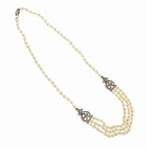 Elegant Cultured Freshwater Pearl Necklace 3 Strand Diamond 14k White Gold