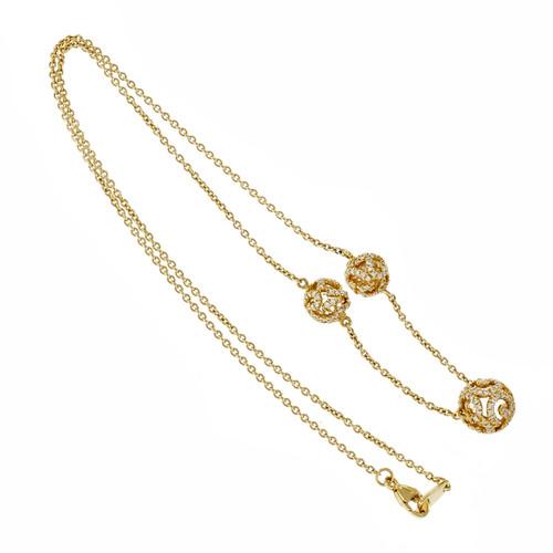 Designer JMP Crystal Ball Diamond Necklace 18k Pink Gold Pavé Set