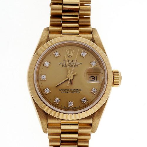 Ladies Rolex 18k Yellow Gold Diamond Dial Watch 69178