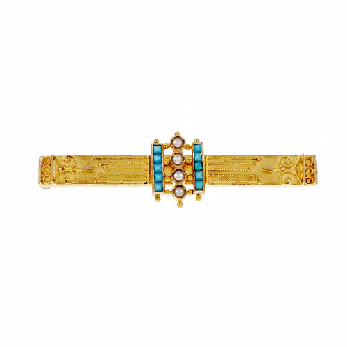 Antique Victorian 1860 Turquoise Bar Pin 14k Yellow Gold Pearl